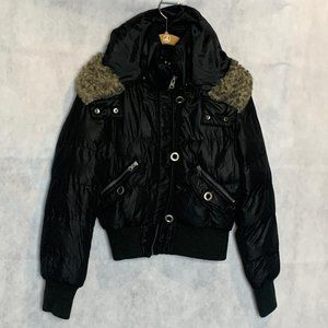 Black Bomber Jacket Hooded Coat Tokdo Collection